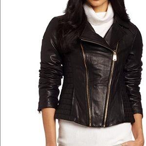 EUC VIA SPIGA Quilted Leather Assymetrical Zip Sm